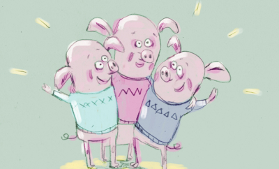 De tre små grisene - hjemme i stua!